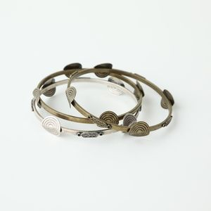 Jewelry - Silver & Bronze Circle Bangle Bracelets (Set of 3)